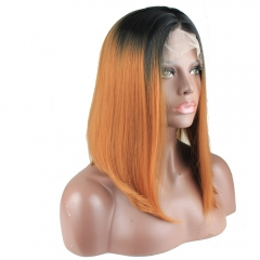 Heat Resistant Synthetic Short Straight Hair Ombre 1B T 30 Lace Front Bob Wigs Middle Parting