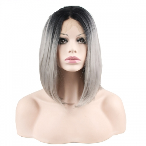 Black Root Ombre Grey Lace Front Wig Free Part Synthetic Slik Short BoB Lace Front Wig For Women