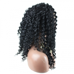 High Quality Cheap Synthetic Lace Front Wigs Deep Curly Natural Black Color for Black Woman
