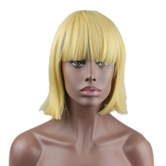 Eseewigs Yellow Wig Free Part Synthetic Slik Short Natural Straight Wig For Women Heat Resistant Fiber Hair 10~14inch
