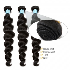 Natural Color Indian Remy Human Hair Loose Wave Hair Weave 3 Bundles