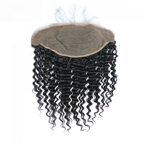 Ear To Ear Brazilian Lace Frontal Closure With Baby Hair 13X6 Top Grade 7A Deep Wave Natural Color Density 130%