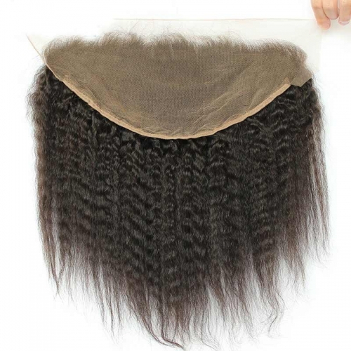 13x6 Mongolian Kinky Straight Lace Frontal Closure Bleached Knots Coarse Yaki Lace Frontal