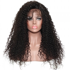 250% Density Pre-Plucked Kinky Curly Human Hair Wigs Natural Hair Line Lace Front Wigs Malaysian Virgin Hair