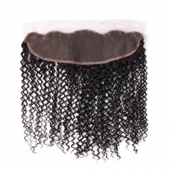 Lace Frontal Closure 13x4 inch 100% Brazilian Virgin Hair Jerry Curly Lace Frontal Closure Natural Color 130%