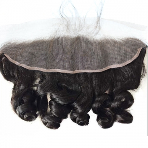 13X4 Loose Wave Ear To Ear Peruvian Lace Frontal Closure with baby hair Top Grade 7A Natural color density 130%