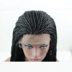 Synthetic Hair lace front wigs with braids Black Color