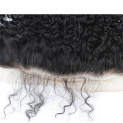 7A Mongolian Kinky Curly Hair With Frontal Closure 3 Bundles With Frontal 13X6 Ear To Ear Lace Frontal Closure With Bundles