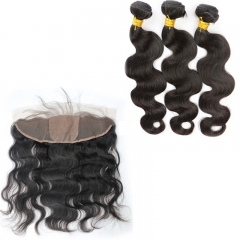 7A Brazilian Hair 3 Bundles With Frontal 13X4 Ear To Ear Lace Frontal Silk Base Closure With Bundles Body Wave In Stock