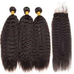 Human Hair Weave With Closure Kinky Straight Unprocessed Virgin Brazilian Hair With Closure Hair 3 Bundles With Lace Closure