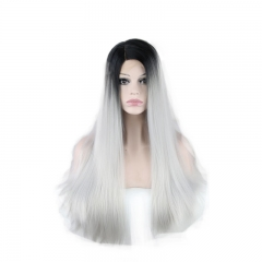 Synthetic Lace Front Wigs Black T Grey Color Straight Hair Wig
