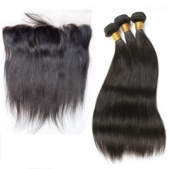 7A Straight Frontal With Virgin Brazilian Hair 3 Bundles Human Hair Full Frontal Lace Closure 13X4 With Bundles