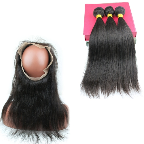 8A Brazilian Human Hair 22.5x4x2 360 lace frontal with bundles Hair Extension Straight 360 lace Band virgin hair 4pcs/lot