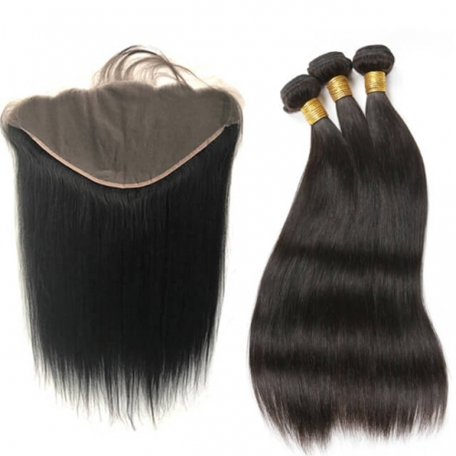 13X6 Ear To Ear Lace Frontal Closure With Bundles Straight 3 Bundles Human Hair With Closure