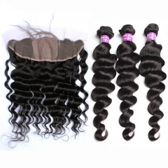 Silk Base Frontal With Bundles 8A Loose Wave Brazilian Virgin Hair With Frontal Closure Bundle Lace Frontal Closure With Bundles