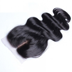 Natural Color Body Wave Brazilian Virgin Hair Silk Base Closure 4x4inches