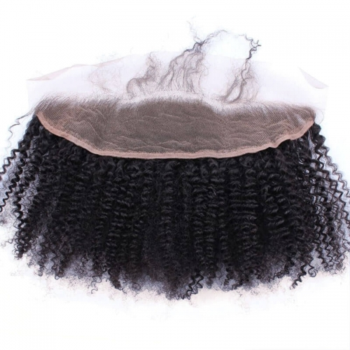 7A afro kinky curly  Ear To Ear lace frontal Closure With Baby Hair 13X4 Top Grade Brazilian Hair Natural Color Density 130%