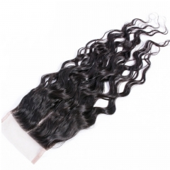 5x5 Water Wave Lace Closure Bleached Knots Free Middle Part 7A Brazilian Virgin Unprocessed Human Virgin Hair