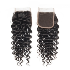7A Unprocessed Peruvian Deep Wave Lace Closure 4*4 Natural Black Free Middle 3 Part Closures With Baby Hair