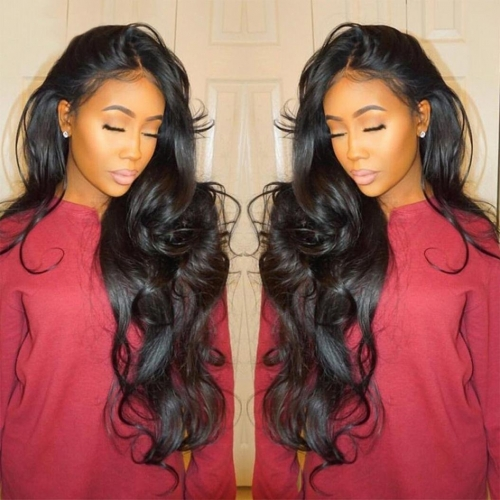 Body Wave Glueless Full Lace Wigs Human Hair Lace Front Wig with Baby Hair Natural Black Color Bleached Knots
