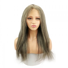 "Affordable Full Lace Human Hair Wigs Black Hair With Highlight Color 20"" Yaki Straight"