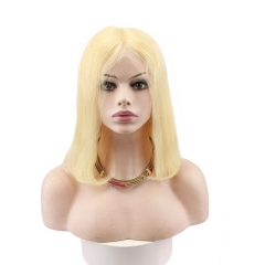 Human Hair Blonde Bob Haircut Wavy Full Lace Front Wig 613# With Baby Hair