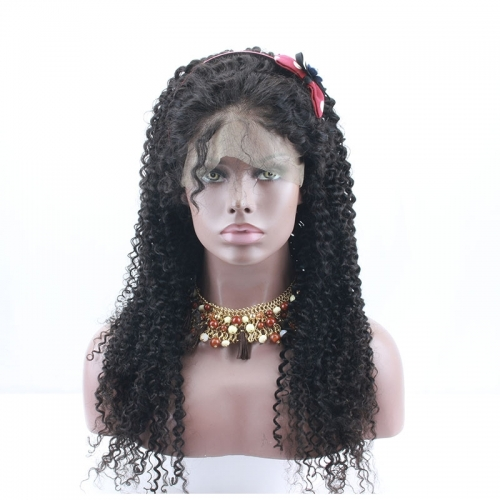 Jerry Curl 180% density 360 Lace Wigs Brazilian Real Human Hair With Baby Hair for Sale
