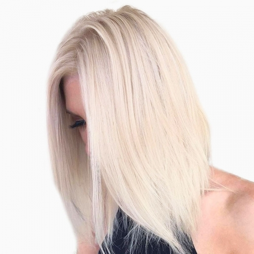 Custom Platinum Blonde Full Lace Wigs Human Hair Lace Front Wigs For Sale 60#