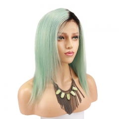 Two Tone Dark Roots Ombre Mint Green Silky Straight Real Human Hair Wig Lace Wig