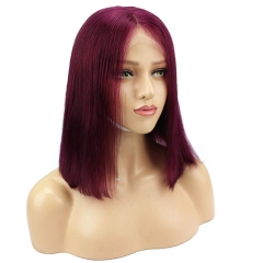 Cheap Brazilian Hair 99J Red Color Short Bob Lace Front Wigs Natural Part