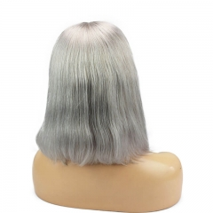Silver Grey Short Real Human Hair Deep Part Bob Lace Front Wigs For Sale