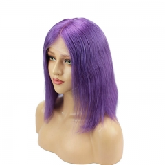 Short Purple Bob Real Human Hair Natural Looking Deep Part Lace Front Wigs
