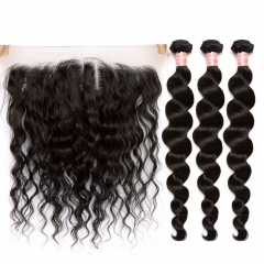 Discount 100 Human Hair 13X4 Lace Frontal With Bundles Loose Wave For Sale