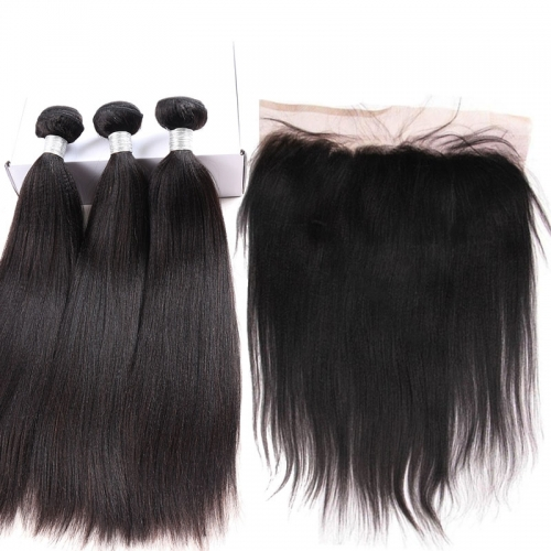 brazilian yaki straight 3 hair bundles with 13x4 lace frontal for sale