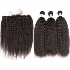 Real Brazilian Good Quality Kinky Straight Hair Bundles With Full Lace Frontal
