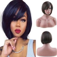 Glueless Short Bob with Side Bangs Mono Lace Net Brazilian Virgin Human Hair Wigs for Black Women Brown Color 10 inch