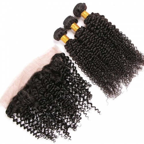 Kinky Curly Remy Hair 3 Bundle Deals With Cheap Lace Frontals