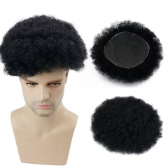 Whole Swiss Lace Base Mens Hairpiece Afro Kinky Curly 10X8 Inch Off Black Toupee