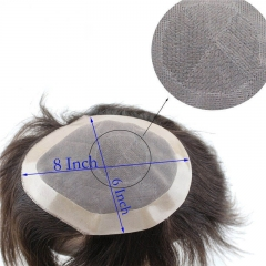 1B Black Color Men Toupee Thin Skin Base 6x8 inch Long Length Replacement