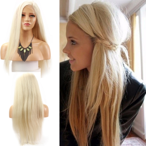 Long Platinum Blonde Wig Silky Straight Virgin Human Hair Full Lace Wig White Blonde For Sale 60#