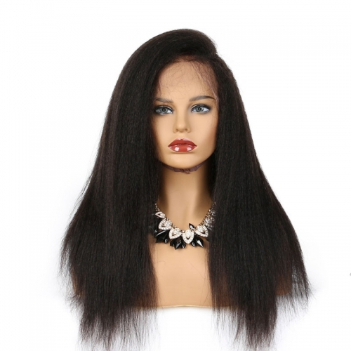 Nice 250 High Density Kinky Straight Glueless 13x6 Lace Front Wigs Deep Part Human Hair for Black Women