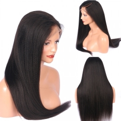 Lace Front Wig Thick Enough Light Italian  Yaki Straight 250 Density Wig Natural Hairline