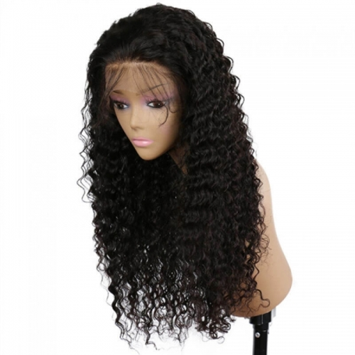 Real Looking 250 Density Thick Deep Wave Human Hair Lace Front Wig Deep Part Wig