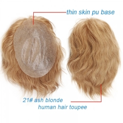 Soft Thin Skin Whole PU Base Toupee 21# Ash Blonde Human Hair Men`s Hairpiece