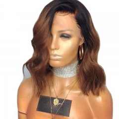 Lace Front Wig Ombre 30# Blonde Bob Wig with Dark Roots Brazilian Wave Full Lace Wig