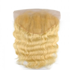 Body Wave 613 Blond Oreille à Oreille 13x6 Swiss Lace Fermeture Frontale Pré Plumée