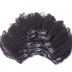 Kinky Curly Clip in Human Hair Extensions Natural Brazilian Human Hair Full Head