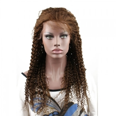Human Hair Lace Wig Kinky Curly Dark Brown 4# Color Hair Beauty Lace Front Wig