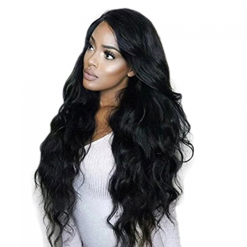 180 Density Peruvian Non-Remy Human Hair Lace Frontal Loose Wave Human Hair Wigs For Black Women Pre Plucked Hairline Natural Color Full Lace Wig