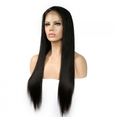Celebrity Human Hair Natural Color Silky Straight Lace Front Wigs For Women